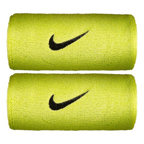 Nike Swoosh Doublewide Wristband 2 Pack - Neon Yellow, Black