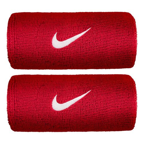 Nike Swoosh Doublewide Wristband 2 Pack - Red, White