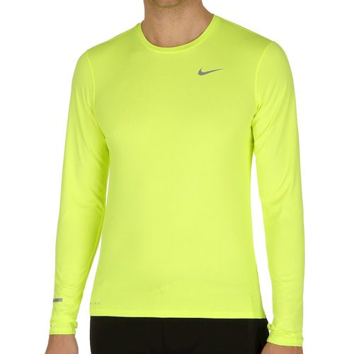 Nike Dri Fit Contour Long Sleeve Men - Neon Yellow, Silver