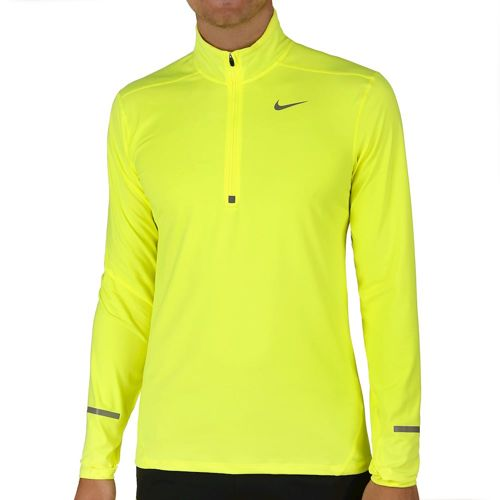 Nike Dri Fit Elet Half Zip Long Sleeve Men - Neon Yellow, Silver