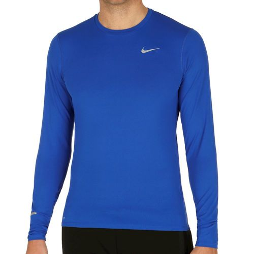 Nike Dri Fit Contour Long Sleeve Men - Blue, Silver