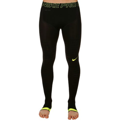 Nike Pro Dry Fit Combat Recovery Hyper Running Pants Men - Black, Neon Yellow