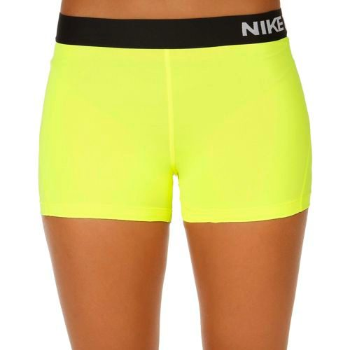 "Nike Pro Dry Fit 3"" Shorts Women - Neon Yellow, Black"