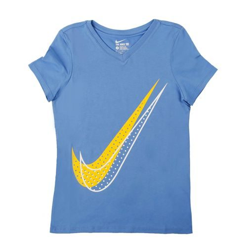 Nike Shadow Dot Swoosh T-Shirt Girls - Blue, Yellow