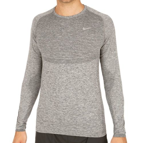 Nike Dri Fit Knit Long Sleeve Men - Dark Grey, Silver