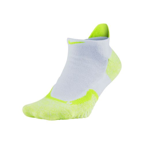 Nike Elite Cushioned No-Show Sports Socks - White, Yellow