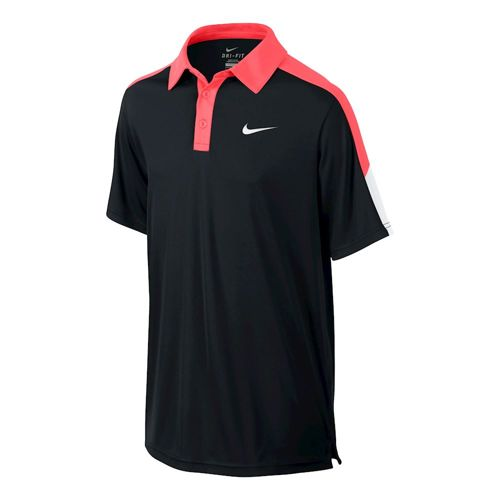 Nike Team Court Polo Boys - Black, Red