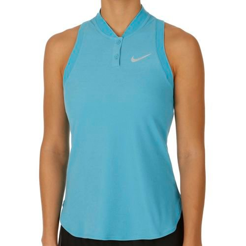 Nike Victoria Azarenka Advantage Premier Sleeveless Polo Women - Blue, White