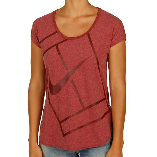Nike Baseline T-Shirt Women - Red, Dark Red