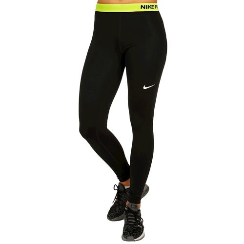 Nike Pro Dry Fit Tight Training Pants Women - Black, Neon Yellow