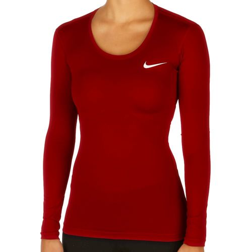 Nike Pro Dry Fit Long Sleeve Women - Red, White