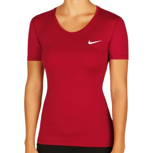 Nike Pro Dry Fit T-Shirt Women - Red, White