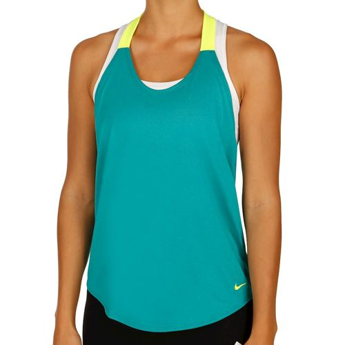 Nike Training Elastika Solid Tank Top Women - Petrol, Neon Yellow