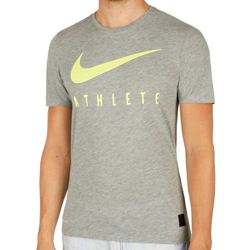 Nike Training Dri-Blend Mesh Swoosh Athlete T-Shirt Men - Dark Grey, Neon Yellow