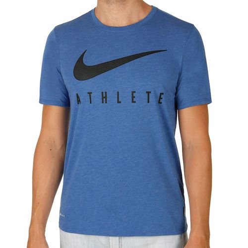 Nike Training Dri-Blend Mesh Swoosh Athlete T-Shirt Men - Blue, Black