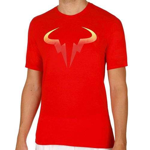 Nike Rafael Nadal Pop T-Shirt Men - Red, Neon Yellow