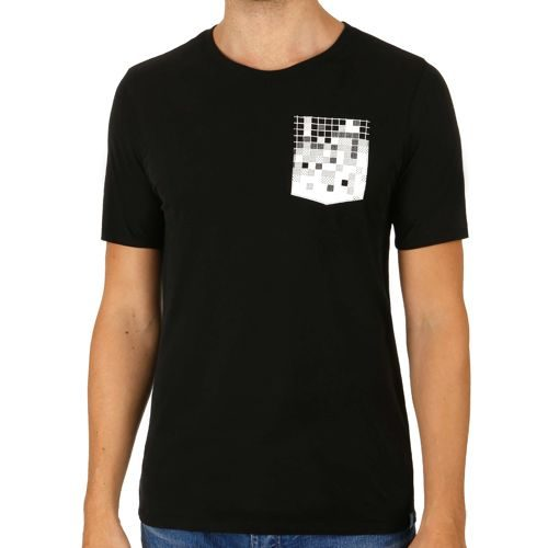 Nike Court Pixel Pocket T-Shirt Men - Black, Neon Yellow