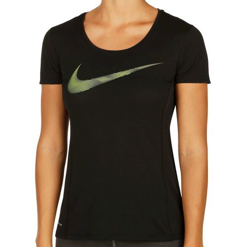 Nike Dry Contour T-Shirt Women - Black, Neon Yellow