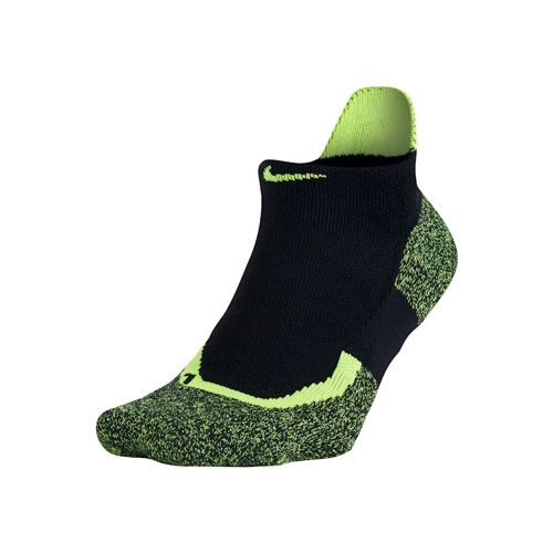 Nike Elite Tennis No Show Sports Socks - Black, Neon Yellow