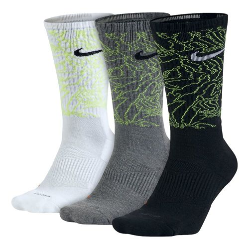Nike Dri-Fito Camo Crew Training Sock Sports Socks 3 Pack - White, Grey