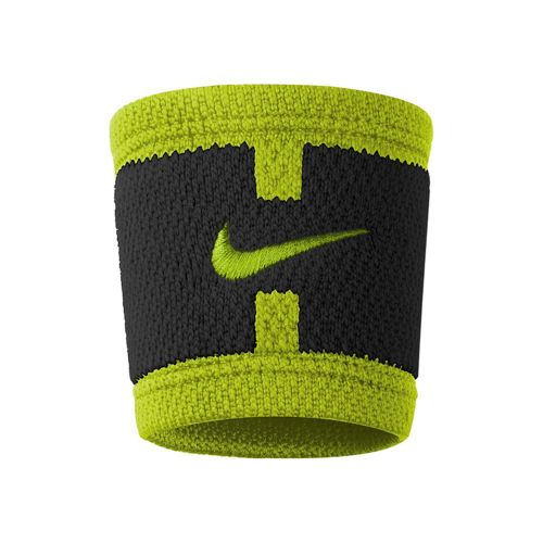Nike Dri-Fit Court Logo Wristband - Black, Neon Yellow
