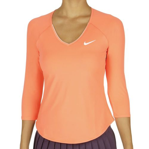 Nike Pure Top 3/4 Long Sleeve Women - Orange, White