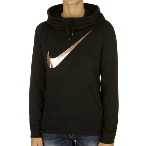 Nike Club Funnel Graphic Hoody Women - Black, Gold