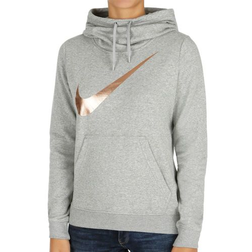 Nike Club Funnel Graphic Hoody Women - Grey, Gold