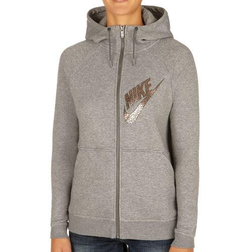 Nike Sportswear Rally Full Zip Zip Hoodie Women - Dark Grey, Gold