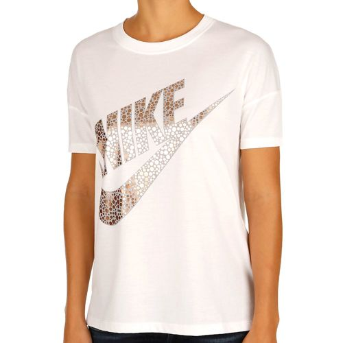Nike Sportswear Signal Metallic Short Sleeve Women - White, Gold