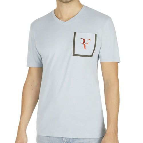 Nike Roger Federer Stealth V-Neck T-Shirt Men - Light Blue, Grey
