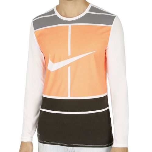 Nike Court Practice Long Sleeve Men - White, Orange