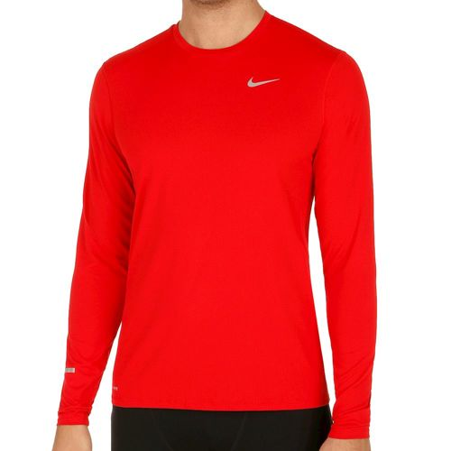 Nike Dri-Fit Contour Long Sleeve Men - Red, Silver