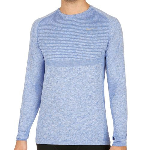 Nike Dri-Fit Knit Long Sleeve Men - Blue, Silver