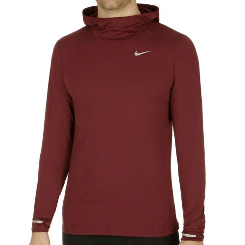 Nike Dri-Fit Element Long Sleeve Men - Dark Red, Silver
