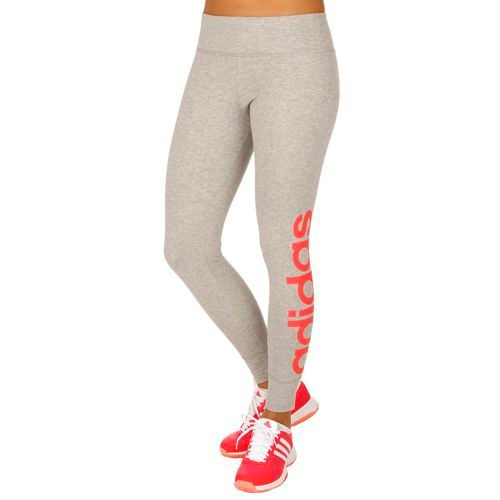 adidas Essentials Linear Tight Pants Women - Grey, Neon Red