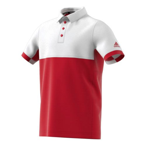 adidas Climacool T16 Polo Boys - Neon Red, White