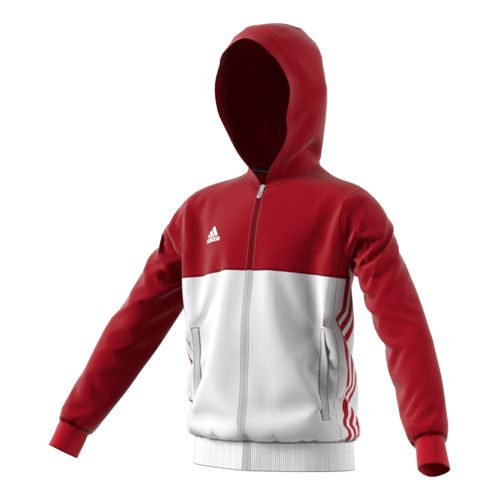 adidas T16 Hoody Training Jacket Kids - Neon Red, White