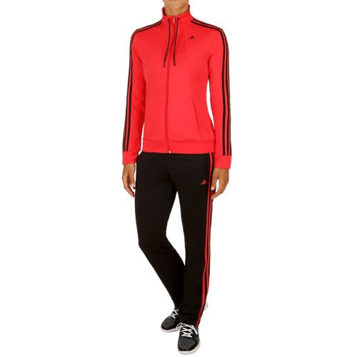 adidas Essentials 3 Stripes Tracksuit Women - Red, Black