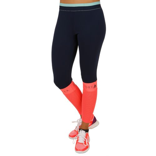 adidas Stellasport Long Glow Tight Training Pants Women - Dark Blue, Neon Red