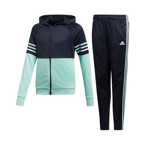 adidas Hooded Polyester Tracksuit Girls - Dark Blue, Mint