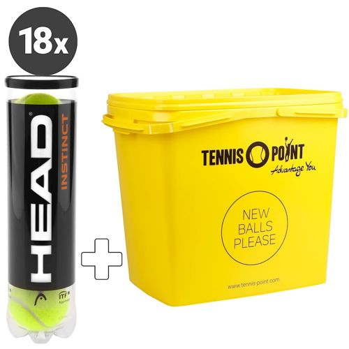 HEAD Instinct 18x 4 Ball Tube Plus Ball Bucket