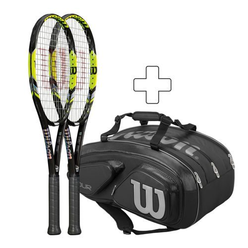 Wilson 2 X Steam 99LS 16x15 Strung, Plus Tennis Bag