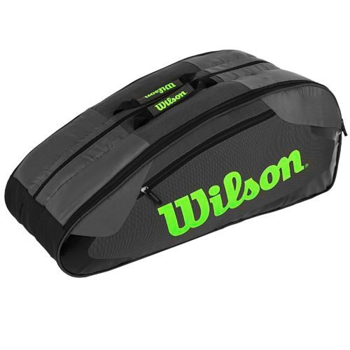 Wilson Tour Team II Racket Bag 12 Pack - Grey, Green