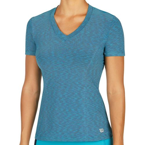 Wilson Striated Top Capsleeve Women - Turquoise