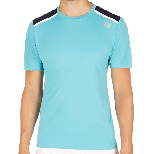 Wilson Jacquard Crew Neck T-Shirt Men - Turquoise, Dark Blue