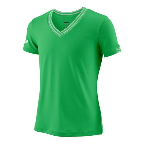 Wilson Team V-Neck T-Shirt Girls - Green, White
