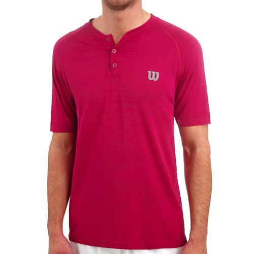Wilson Competition Seamless Henley T-Shirt Men - Berry, Grey