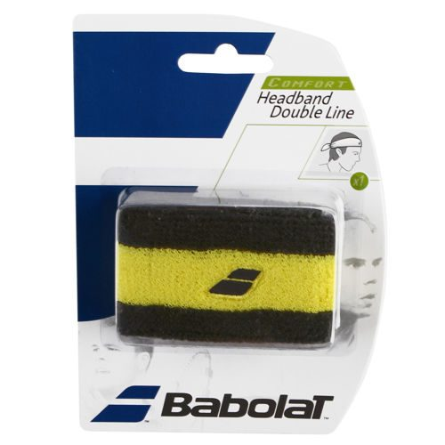 Babolat Headband Double Line Pack Wristband 1 Pack - Black, Yellow