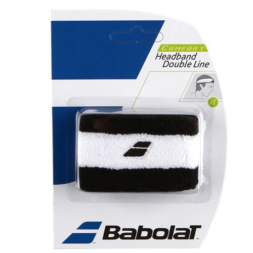 Babolat Headband Double Line Pack Wristband 1 Pack - Black, White